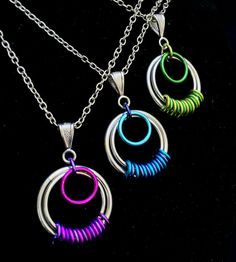 Chainmaille Pendant - Serenity - Stripes - Bright & Anodized Aluminum - Chainmail Jewelry
