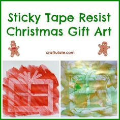 Sticky Tape Resist Christmas Gift Art from Craftulate