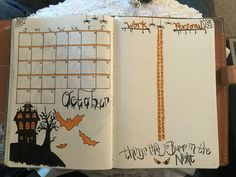 Halloween monthly bullet journal lay out