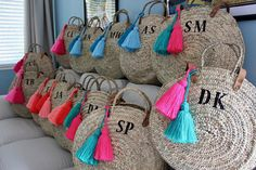 Monogram round large straw bag with double set of handles and 2 tassels, personalized round basket bag. This lovely and fun french market basket features : *Double set of handles, long leather ones shoulder length and the short palm woven ones. * 2 oversized tassels (you choose