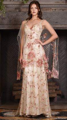 claire pettibone fall 2017 bridal sleeveless strap sweetheart neckline redfloral embroidered full embellishment vintage ivory color a line wedding dress low back sweep train (maple) mv -- Claire Pettibone Fall 2017 Wedding Dresses 2017 Bridal, Bridal Gowns, 2017 Wedding, Spring Wedding, Dresses Uk, Pretty Dresses, Wedding Dress Low Back, Wedding Dresses, Fashion Vestidos