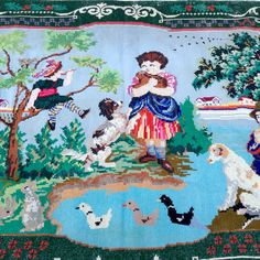 Old embroidery Cross stitch picture Vintage от LuckyElenaShop