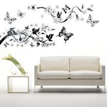 Quarto sala decoração borboleta flores da árvore adesivos de parede / Wall Decal família Home Decor(China (Mainland))