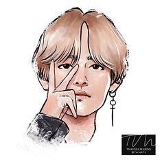 Idk y V colors in his eyebrows cuz u can't see it through all his hair but he still looks Hella hot Taehyung Fanart, Bts Taehyung, Bts Chibi, Kpop Drawings, Art Drawings, Bts Pictures, Photos, Bts Anime, Boy Drawing