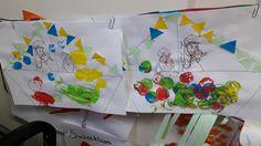 Stoomboot sinterklaas.  Stempelen met verschillende kleuren.  Vlaggenlijn kleven, al dan niet met hulp.  Sinterklaas en het paard kleuren met wasco. Oudste Peuters.