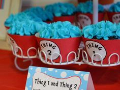 Thing one and Thing two twins baby shower   CatchMyParty.com