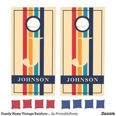 Family Name Vintage Rainbow Retro Stripes Monogram Cornhole Set Custom Cornhole Boards, Cornhole Set, Johnson Family, Johnson And Johnson, Fun Party Games, Corn Hole Game, School Colors, Monogram Initials, Stripes