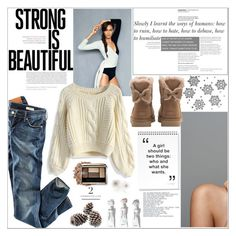 """Cozy"" by carolinafrancesca ❤ liked on Polyvore featuring H&M, Chicwish and UGG"