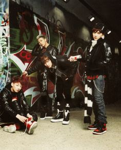 Jungkook, Rap Monster, J-Hope, and Suga from BTS (Bangtan Boys)