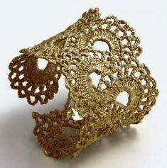 Pictures of lace - Gold Vermeil Vintage Scalloped Lace Cuff Bracelet by WhiteFly.jpg