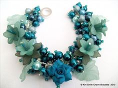 Teal Rose  Pearl Beaded Charm Bracelet  Handmade by KIMMSMITH