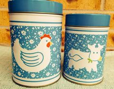 Adorable Vintage Blue and White Country Chicken & Cow Tin Canisters  on Etsy, $7.95