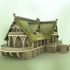 elven village inn fantasy 3d model - Elven Village Inn by Meshbox Design