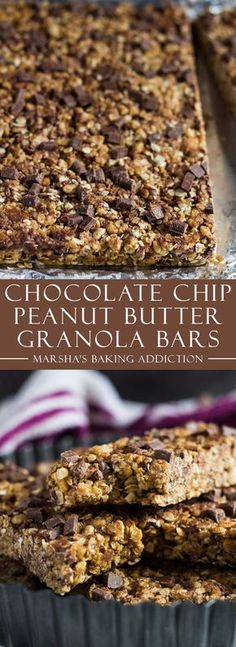 Recipes Snacks Bars No-Bake Chocolate Chip Peanut Butter Granola Bars Smoothies Vegan, Yummy Snacks, Yummy Food, Lunch Snacks, School Snacks, Granola Bars Peanut Butter, Granola Protein Bars, No Bake Protein Bars, Granola Bites