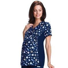 This Cherokee Flexibles #maternity top features an empire waist with adjustable drawstring and soft stretchy knit side panels. #scrubs