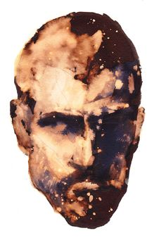 A portrait bleached from ink.