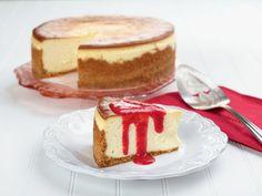 "Joe's ""Say Cheese"" Cheesecake with Fresh Strawberry Sauce recipe from Trisha Yearwood via Food Network"