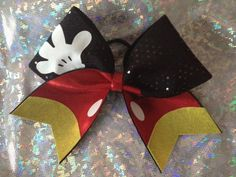 Mickey mouse theme cheer bow