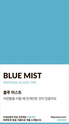 Color of today: Blue Mist디자인빛의 작은 프로젝트 오늘의색은 하루에 한 빛깔, 아름다운 색과 재미있... Flat Color Palette, Earthy Color Palette, Colour Pallette, Color Azul, Colour Schemes, Color Patterns, Pantone Colour Palettes, Pantone Color, Colour Board
