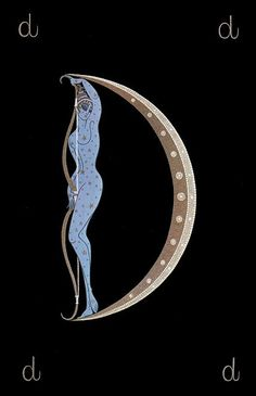 D: by Erte - My old friend Mara Fitch pinned this. <3 This was always one of my favorite letters in the collection, because I love archery, and how Erte managed to morph the bow into a moon. I also love how Diana glows blue in the moonlight. I have all the letters and seasons (gifts from my mother), and used to have them framed on my wall in Rome. Then when I was married to my ex-husband, David (so many moons ago), we had just the D and the E framed. ~ETS #erte #d #arteco…