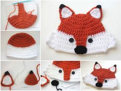 This crochet fox hat has been much requested and on my to-do list for a long time! After some inspiration from my Repeat Crafter Me Crochet FB Group, I finally put yarn to hook and came up with this cutie! I used my basic hat pattern and added e. Crochet Animal Hats, Crochet Baby Hats, Crochet Beanie, Crochet For Kids, Knit Crochet, Crochet Panda, Flower Crochet, Crochet Pillow, Crochet Cardigan