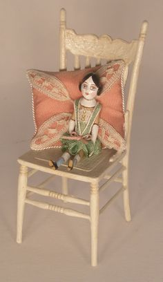 Doll in Cream Chair by Gale Elena Bantock - $875.00 : Swan House Miniatures, Artisan Miniatures for Dollhouses and Roomboxes