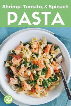 Shrimp, Tomato and Spinach Pasta   eMeals.com