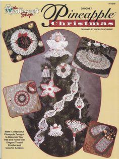 Pineapple Christmas Crochet Patterns - Tree Skirt, Doily, Ornaments, Angel. via Etsy.