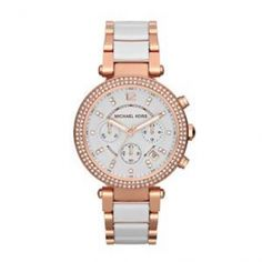 MICHAEL KORS Mod. PARKER CERAMIC  watch with white & golden combination
