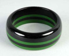 Bakelite Jewelry Price Guide: Bakelite Green & Black Striped Bangle