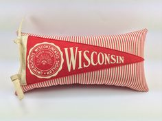University of Wisconsin Badgers Vintage Pennant Pillow handmade by MGDesigns on Etsy
