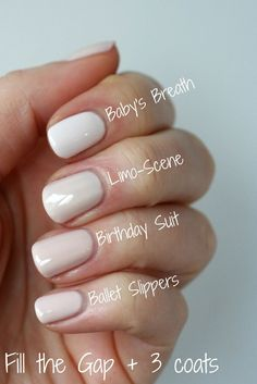 Essie Sheer Nude Comparison : Ballet Slippers, Birthday Suit, Limo-Scene & Baby's Breath | Essie Envy