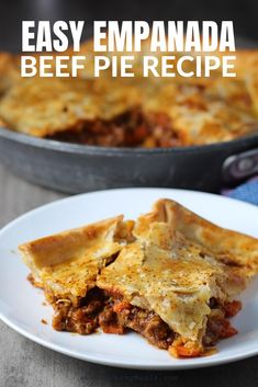 Effortless Savory Empanada Beef Pie Recipe! It has a perfect flaky, buttery pastry on the outside with a savory, smokey, salty ground beef filling. The best part is that it's so much easier to make then all of those individual empanadas. But yet, it still delivers all of the familiar amazing flavors and textures in a full-on family dinner! #beefpie #potpie #familydinnerideas Spring Recipes, Holiday Recipes, Beef Pies, Food Dishes, Main Dishes, Delicious Dinner Recipes, Empanadas, One Pot Meals, Pie Recipes