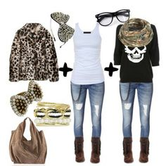bc753910a3a9 Cute clothes for teenage girls. I HATE the leopard coat. Ugh. Cute Casual
