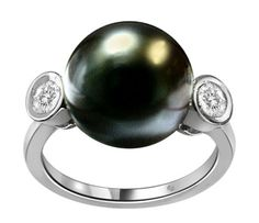 10mm South Sea Pearl & Bezel Set Diamond Ring - http://sunjewelry.meximas.com/2014/02/10mm-south-sea-pearl-bezel-set-diamond-ring/