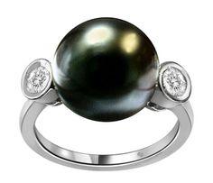 10mm South Sea Pearl & Bezel Set Diamond Ring - http://sunjewelry.meximas.com/2014/02/10mm-south-sea-pearl-bezel-set-diamond-ring/