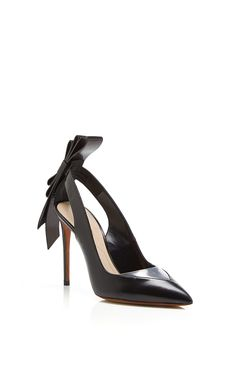 2dae2c9bd62 Black Leather and Clear PVC Origami Back Bow Pointed Toe Pump by Nicholas  Kirkwood - Moda