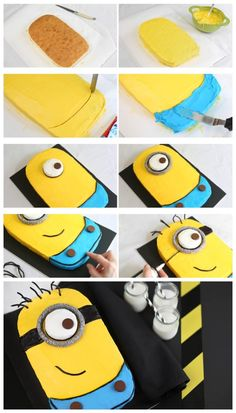 #KatieSheaDesign ♡❤ Despicable Me Minion Sheet Cake Ingredients: 1 box Betty Crocker® SuperMoist® butter recipe yellow cake mix Water, butter and eggs called for on cake mix box 1 container Betty Crocker® Whipp...
