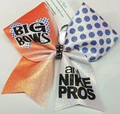 094d6b82ae Bows by April - Citrus Orange and Blue Big Bows and Nike Pros Glitter Cheer  Bow