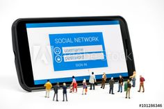 Group of people watching at social network sign in page on smar