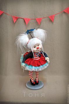 Купить Тоня и Соня (Дети Моря) - ярко-красный, клоун, клоунесса, цирк, текстиль, капрон