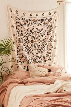 Harlow Folk Floral Tapestry - Beautiful Home Ideas ❤ - Dorm Room İdeas Living Room Designs, Living Room Decor, Bedroom Decor, Bedroom Ideas, Floral Bedroom, Cozy Bedroom, Bedroom Designs, Modern Bedroom, White Bedroom