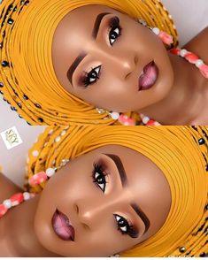 Black Wedding Makeup, Makeup For Black Skin, Black Girl Makeup, Bridal Makeup Looks, Full Face Makeup, Bridal Hair And Makeup, Bride Makeup, Eyebrow Makeup, Girls Makeup