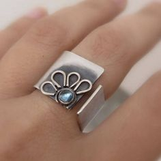 Wide Band Silver ring Blue Topaz ring Flower wide band ring