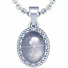 Platinum Oval Cut Blue Sapphire Solitaire Pendant GemsNY. $3087.00