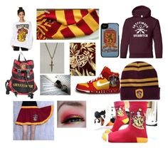 """""""Gryffindor"""" by its-sammie-ok ❤ liked on Polyvore featuring NIKE, Forever 21, Disney, harrypotter, Gryffindor and rowling"""