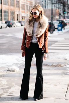 fall / winter - street style - street chic style - fall outfits - winter outfits - casual outfits - brown suede jacket + beige fur scarf + black flare jeans + grey sweater + black heeled booties + black sunglasses