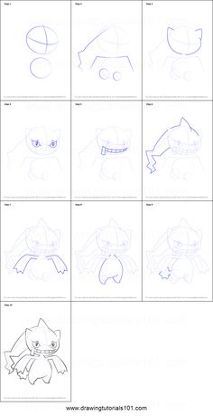 How to Draw Banette from Pokemon printable step by step drawing sheet : DrawingTutorials101.com