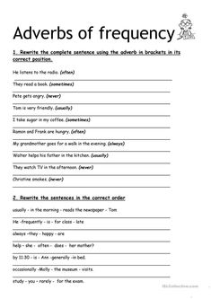 adverbs of frequency - English ESL Worksheets for distance learning and physical classrooms Adjective Worksheet, Verb Worksheets, Reading Comprehension Worksheets, Printable Worksheets, Opposites Worksheet, Weather Worksheets, Family Worksheet, Kindergarten Worksheets, English Grammar Worksheets