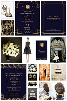 """I was so inspired the night I saw """"The Great Gatsby"""" in IMAX 3D, that the next day I began designing a vintage/deco/1920s inspired wedding stationary collection. It's all about the glitz and glamou..."""